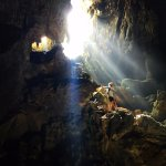 Soaking in the light after a deep exploration of the Cave!