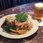Boyden Beef burger and a local draft beer available during lunch or dinner