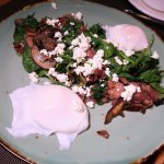 Prosciutto and Kale Poached egg, mushrooms, goat cheese, sherry vinegar