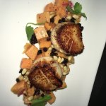 Special appetizer of the day was sweet potato salad with scallops. The scallops were cooked to p