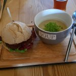 Beef rump sandwich and soup. Great presentation.