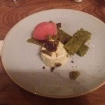 Pistachio Cake, blood orange sorbet and panna cotta