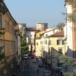 View from the path of an Old Medieval Gate into Lucca