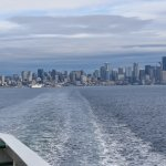 Leaving the ferry slip with Seattle on the skyline.