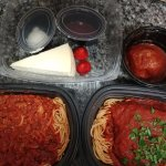 "Two 'Take home"" entrees with the Marco's Meal for two. giant portions! The cheesecake was includ"