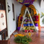 De la Parra hotel staff building altar for the Day of The Dead celebration