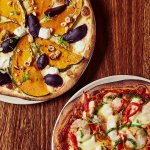 woodfired Pizza Roasted pumkin and Beetroot. Morteton bay bug
