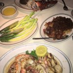 Filet & Lobster Tail, Hash browns with onions, Grilled Shellfish, Asparagus