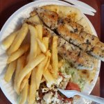 2 chicken skewers with salad & fries
