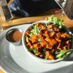 Roasted sweet potato salad with cajun dressing