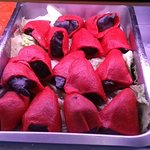 Peppers stuffed with squid cooked in own ink
