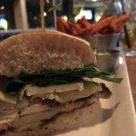 Chicken, brie an fig sandwich
