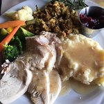Thanksgiving dinner--turkey, potatoes, stuffing, vegetables, cranberry sauce