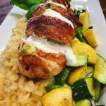 Chicken Roulade - Chicken breast wrapped in bacon & served over Risotto