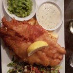 Fish and chips and pea mash