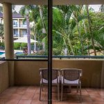The balcony of my room, overlooking the tropical gardens and pool