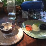 Black rice pudding and Lava cake with ice-cream