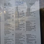 Prince of Wales menu