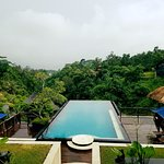 The view from the restaurant overseeing the pool and hotel grounds.