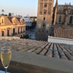 View of Seville Cathedral, from the hotel's roof-top bar.