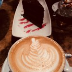 CoffeeCappuccino and Black Forest cake
