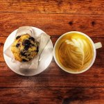 Vegan blueberry muffin with a latte