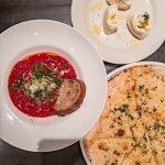 Trio of starters: Meatballs, burrata and flatbread