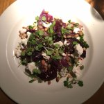 Roasted beetroot and Wobbly Bottom goat's cheese salad, hazelnut and slow-braised red onion