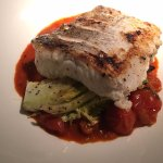 South Coast hake, tomato and sherry compote, chargrilled baby gem