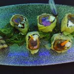 tataki, cream cheese in nori and fried pastry with seaweed and soy-esque sauce