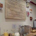 Breakfast table with menu