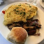 Farmhouse Omelette with potatoes and the fluffiest, most delicious biscuit + a side of fruit, co