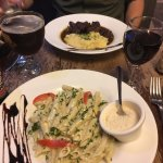 Pasta with blue cheese sauce and beef bourguignon at cafe Roussillon - Paris