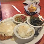 chicken fried steak, okra &tomatoes, mashed potatoes and mustard greens