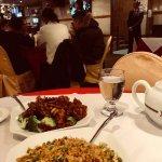 fried rice, beef with orange peel