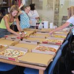 Lew's pizza take out for my class at nearby Hollins University (2014)