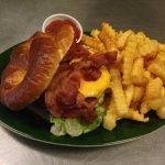 Bacon cheeseburger on a preztel roll