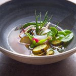 Roast cuttlefish with charred kelp broth, sea succulents