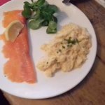 Salmon and scrambled egg served with fresh home made bread!