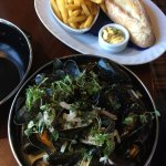 River Exe mussels, classically cooked in white wine, shallots, garlic, parsley and a touch of cr
