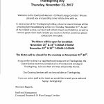 Limited Services on Thanksgiving