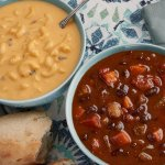 Mac N' Cheese soup and Spicy Black Bean Chili