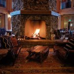 The centerpiece and namesake of Heck's - it's warm and inviting hexagonal fireplace.