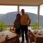 Victoria and host Yiannis in the breakfast rrom