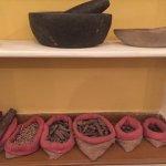 herbal remedies display in dining room