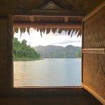 View through cabana window (at sunset)