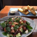 Greek Salad and Focaccia with garlic butter