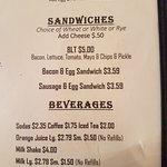 Current menu options for lindsays