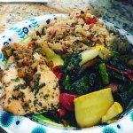 Salmon, Balsamic Veggies and Caribbean Rice