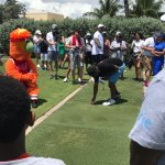 DJ Irie about to give it a practice swing
